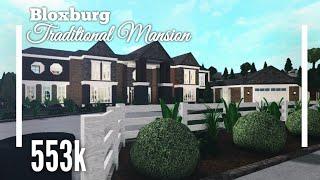 (553k) Traditional Mansion /w Beautiful Landscape SpeedBuild  Bloxburg ROBLOX