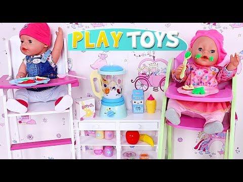 Baby Born Doll Twins Dressing and Feeding in Cute Nursery Bed Room!