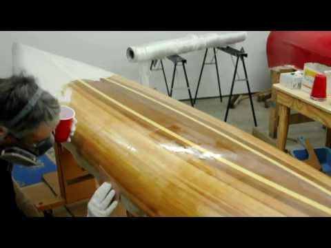 Fiberglassing a wooden kayak hull