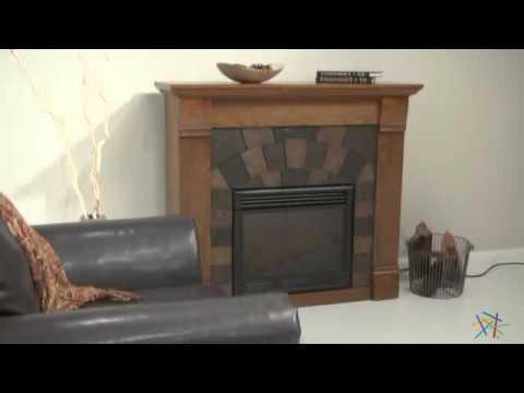 Southern Enterprises Elkmont Salem Antique Oak Electric Fireplace - Product Review Video