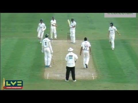 Oh dear! Joe Leach is bowled by Monty Panesar