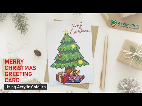 Merry Christmas Greeting Card Drawing Tutorial Using Acrylic Colours