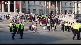 Live London Trafalgar Square anti lockdown Protest , demo , police clashes with protesters