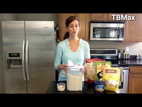 TBMax rice storage container dispenser,with measuring cup on amazon .