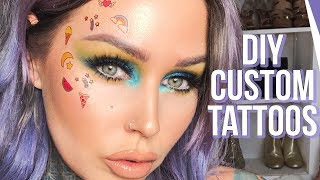 EASY DIY Temporary CUSTOM FACE Tattoos Tutorial!