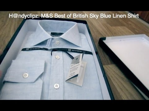 Unboxing M&S Best of British mens sky blue linen shirt