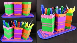 How to make a pen stand from waste LED bulb box | DIY recycled craft ideas
