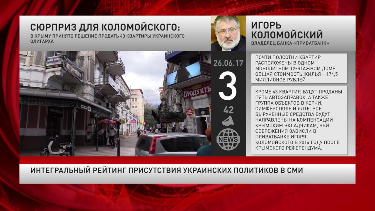 Интегральный рейтинг присутствия украинских политиков в СМИ за 26 июня