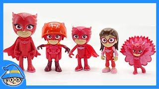 PJ Masks Owlette defeat Romeo and Night Ninja. PJ Masks toy collection.