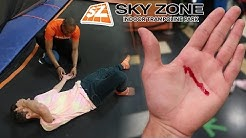 I CUT MY HAND OPEN AT SKY ZONE... WTF? (WORST TRAMPOLINE PARK FAIL)