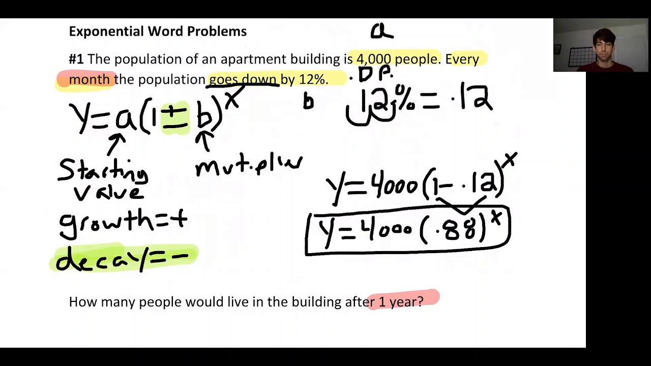 writing exponential functions from word problems  youtube