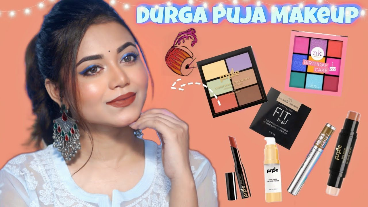 Affordable Festive Glam for Everyone   Blue Smudged Eyeliner with brown Lips   Durga Puja look #3