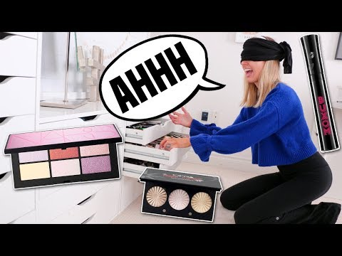 I Chose a Full Face of Makeup BLINDFOLDED (aka my husband trolls me again)