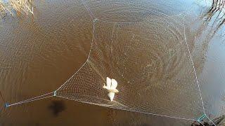 НАЛОВИЛ КАРАСЕЙ И ОТДАЛ СТАРИКАМ ПАУК РАБОТАЕТ НА УРА Рыбалка на паук на самодельном мосту