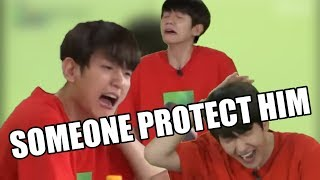 Baekhyun getting hit/ hurting himself for 2 minutes straight