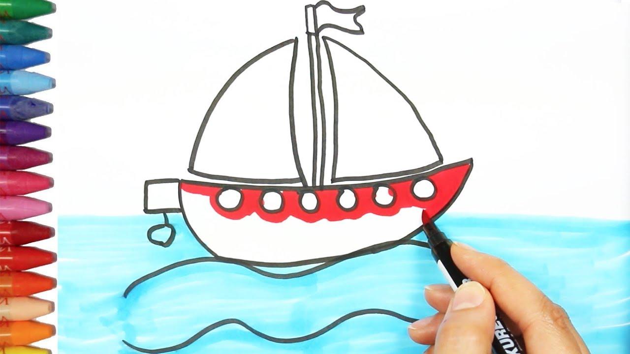 Dibujar Un Barco   Cómo dibujar y colorear los para niños ...
