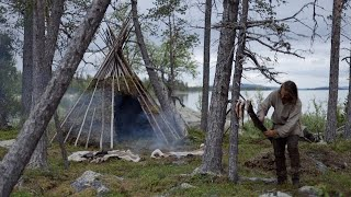 Making a permanent bushcraft camp - tipi from natural materials  - [part 1 - long version]