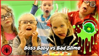 Bad Slime vs Boss Baby in real life comics SuperHero Kids