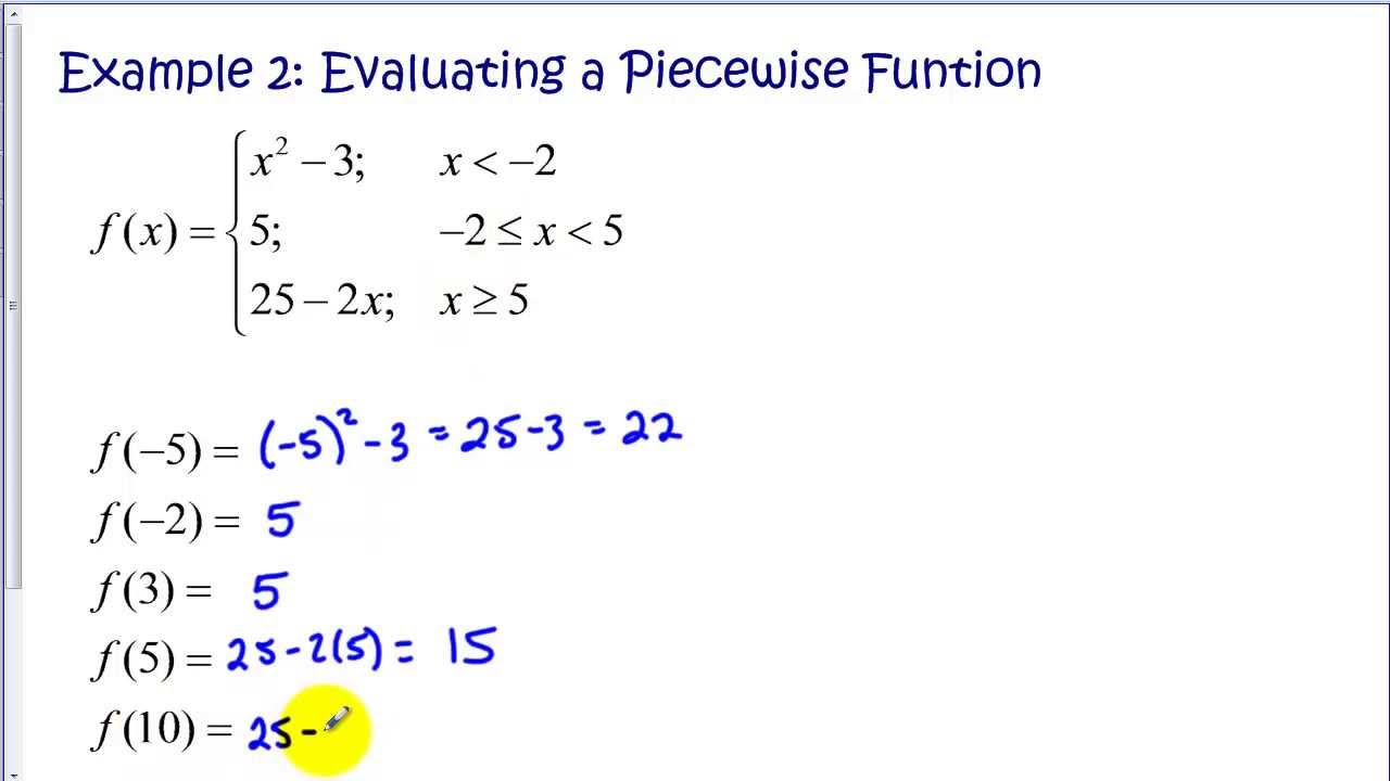 Evaluating Piecewise Functions Tutorial - YouTube