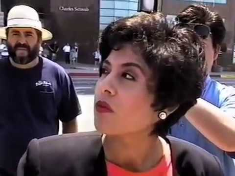 A reporter trying to paint someone as racists and failing. Seem familiar? PROP 187 Rally, Los Angeles 1996