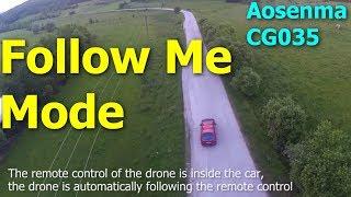 Drone automatically follows car (Follow Me mode Aosenma CG035 Xiaomi Yi)