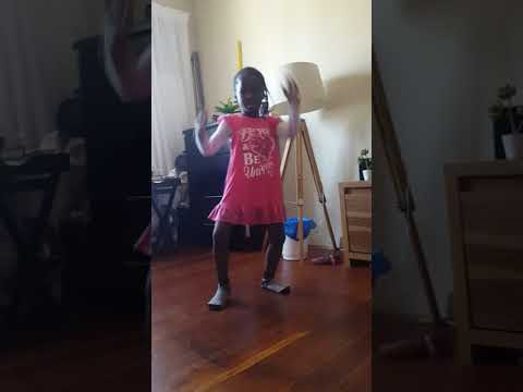 South African girl showing dancing step...