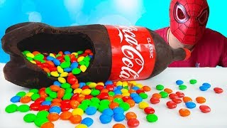 Funny baby Spiderman Chocolate Candy Coca Cola Nursery Rhymes Song for Children kids Colours