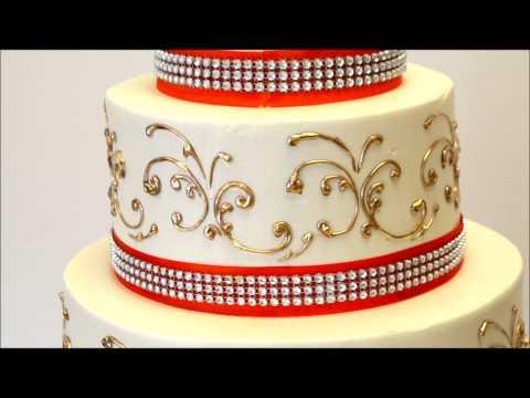 three-tier-wedding-cake-with-gold-and-orange-ribbon---wedding-cake-idea