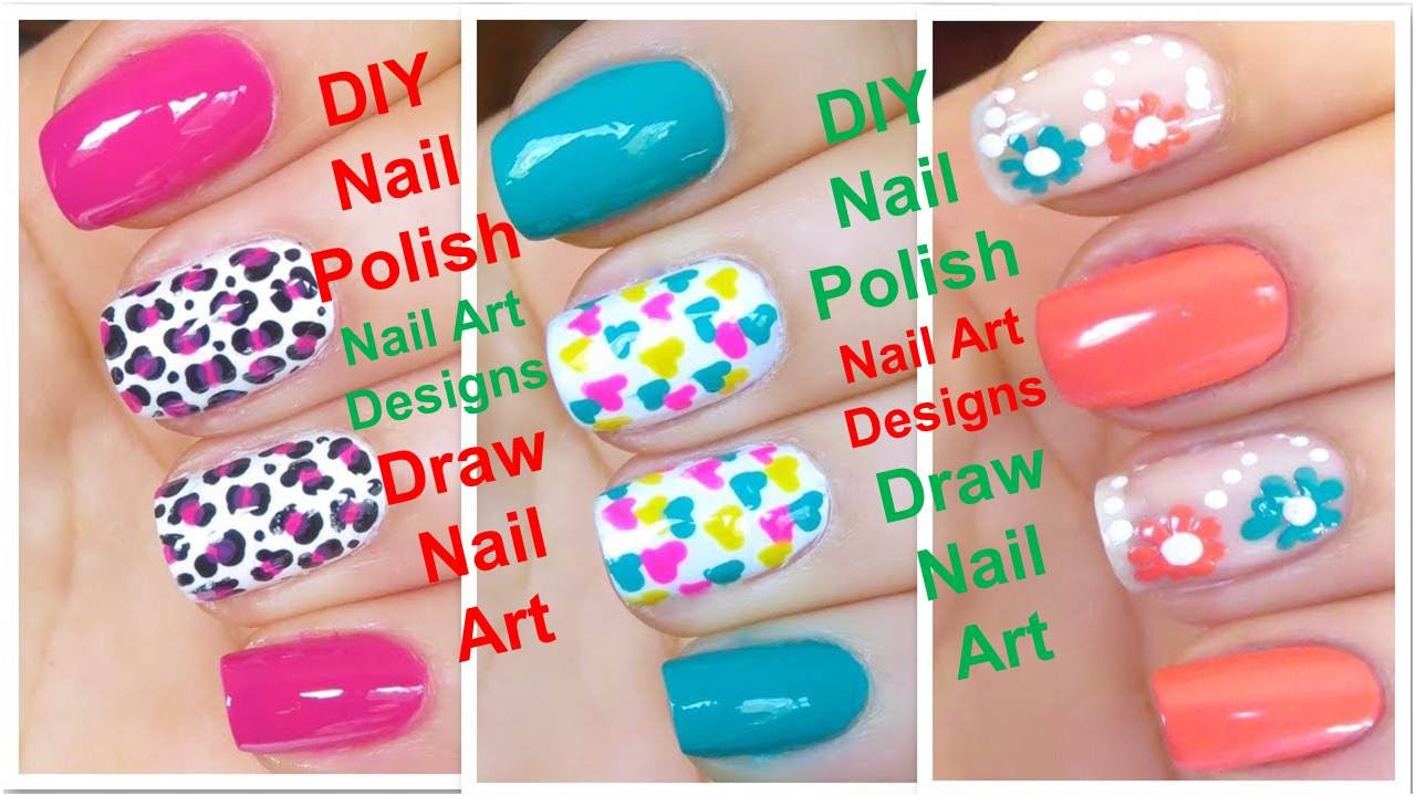diy nail polish art design gel