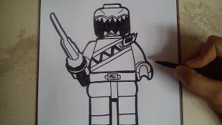 COMO DIBUJAR POWER RANGER DINO CHARGE - LEGO / how to draw power ranger dino charge - lego