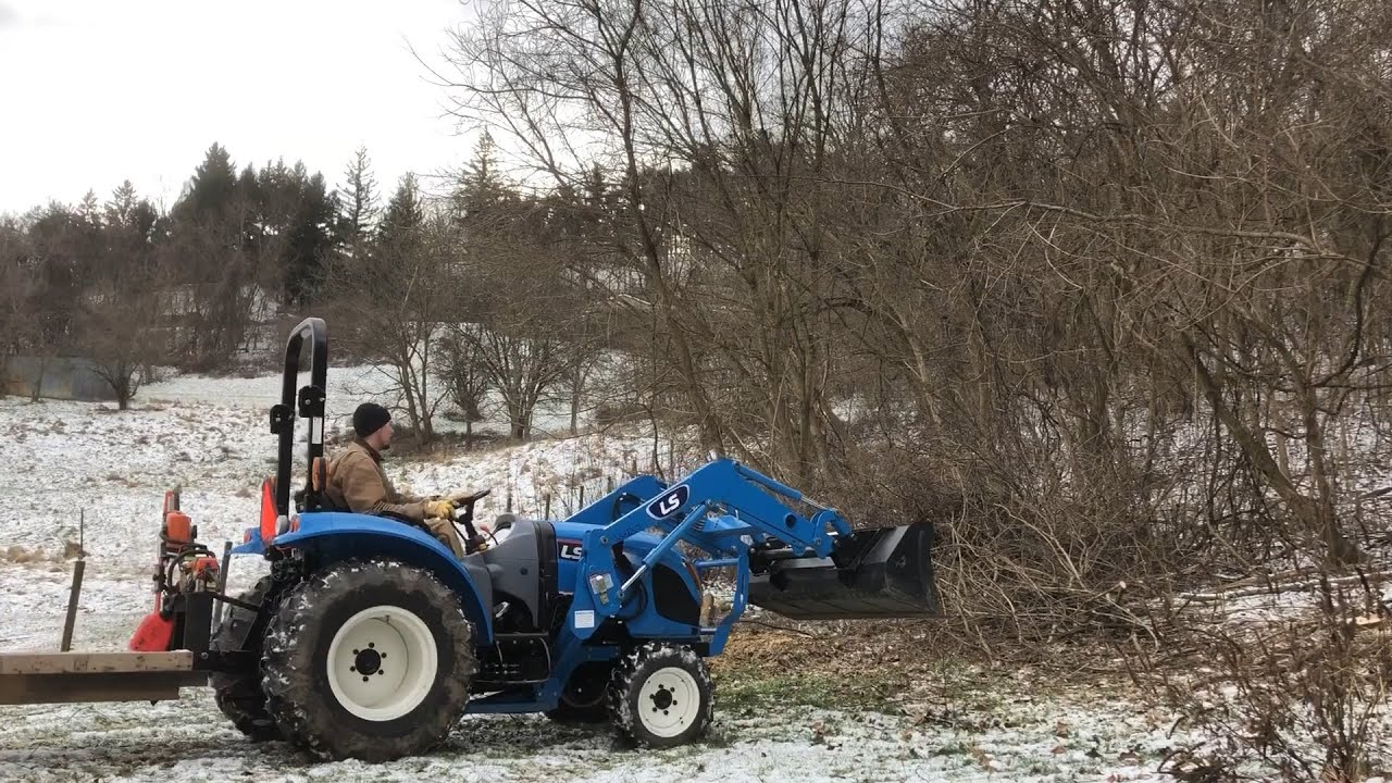 #110 New Kolpin chainsaw carrier and LS XR3135 tractor,Let's do some work!  Pt 1