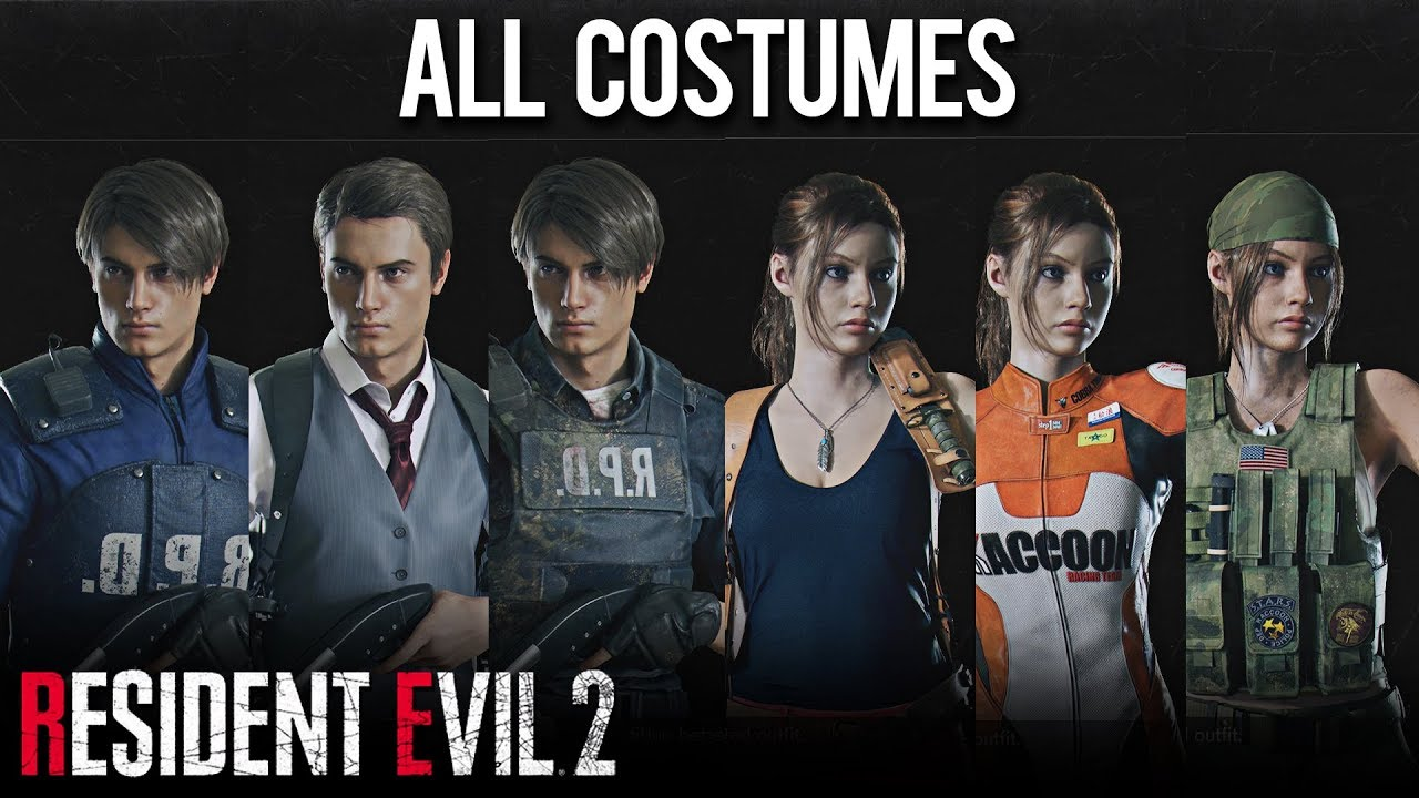 Resident Evil 2 Remake All Costumes Outfits Including Leon
