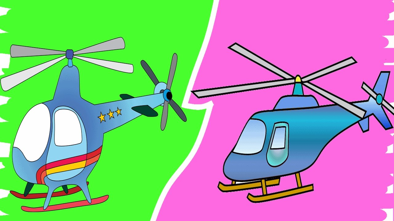 coloring pages for kids helicopter learn colors youtube