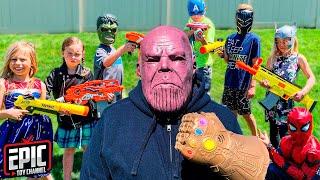 Nerf Battle Hero Kidz Vs Thanos   Avengers Pretend Play For Kids