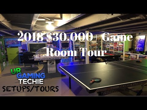 $30,000+ Game Room/ Man Cave Tour Video Games, Board Games, Movie Theater + More
