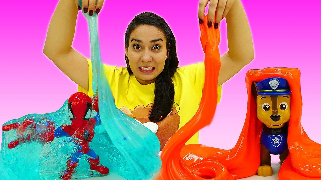 Valerias Spielzeug Kindergarten. Die Spielzeuge spielen mit Slime. Kinder Video mit Paw Patrol
