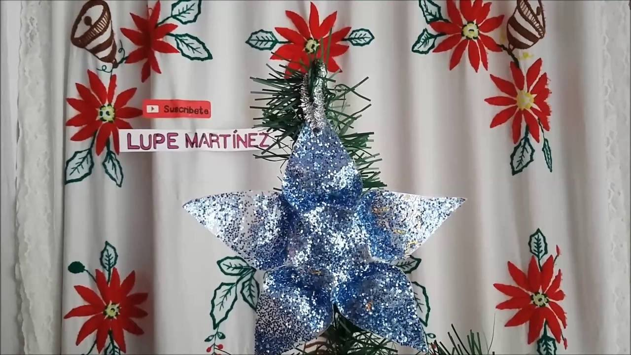 Como hacer una estrella reciclada con botellas como - Como hacer centros navidenos ...