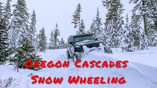 Snow Wheeling Jeep Wrangler Oregon Cascades Part 1/2