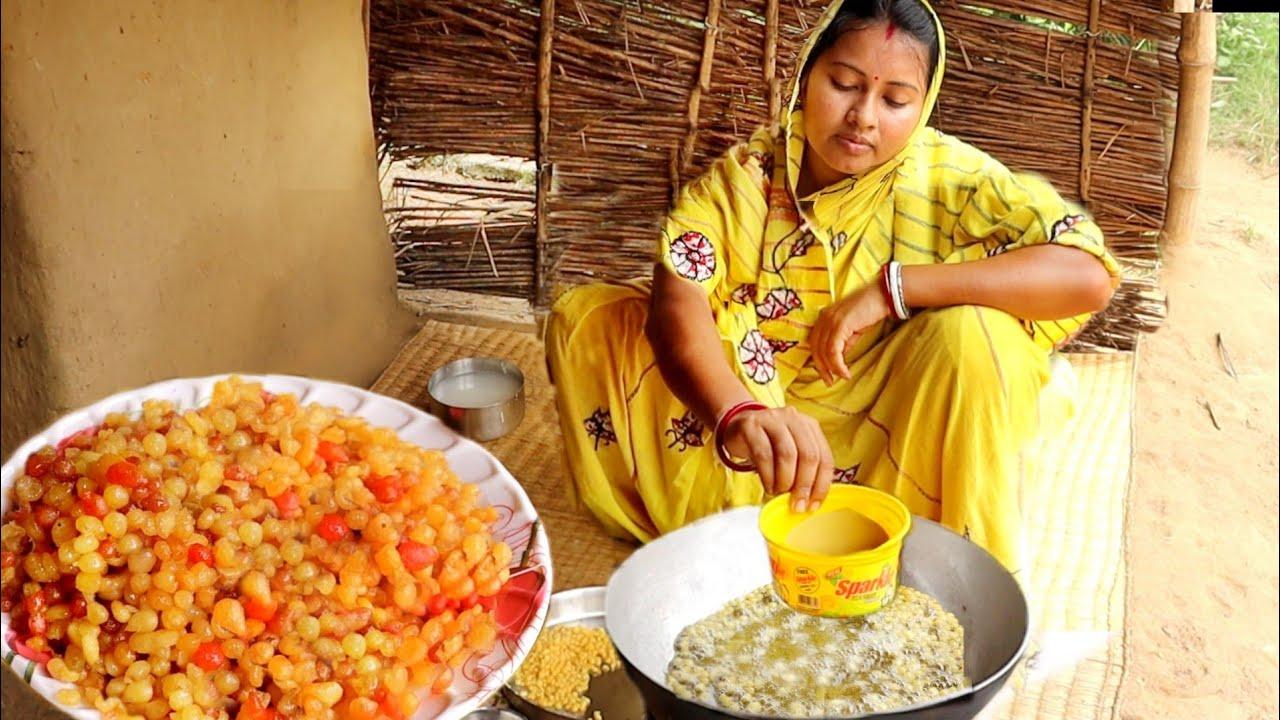 গ্রাম্যপদ্ধতিতে এক কাপ বেসন দিয়ে একদম দোকানের মতো রসালো ঝরঝরে বুন্দিয়া তৈরির রেসিপি || bundia recipe