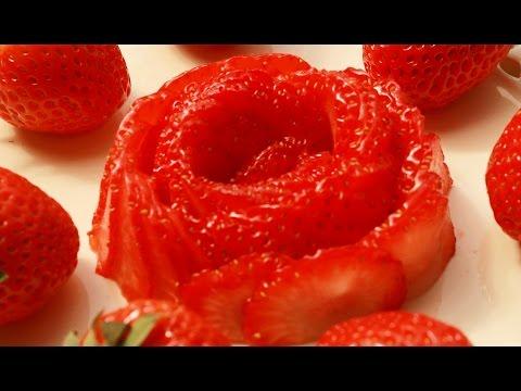 Art In Strawberry Rose Flower | Fruit Carving Garnish | Party Garnishing