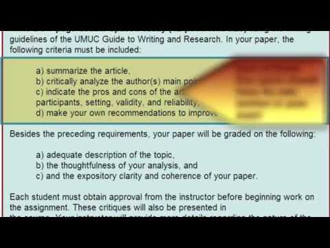 How to Write the Academic Critique Assignment--Critique of Academic Journal Article