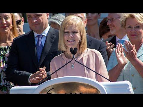MGC Chair Cathy Judd-Stein Speaks Before Encore Boston Harbor's Grand Opening