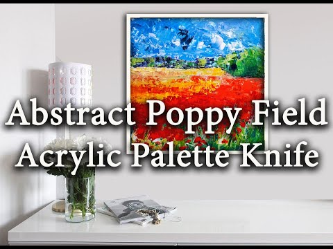 How to paint Abstract Poppy Field N°2 – Abstract Landscape Painting – Palette Knife – For Beginners.