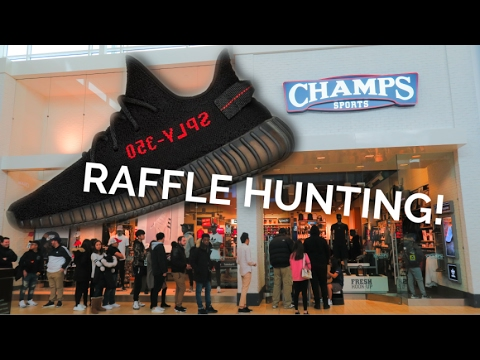 ADIDAS YEEZY BOOST 350 v2 RAFFLE HUNTING! CRAZY LINES!