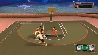 NBA 2K17 7 Foot Center and  6'3 PG drop off a 98 superstar in park