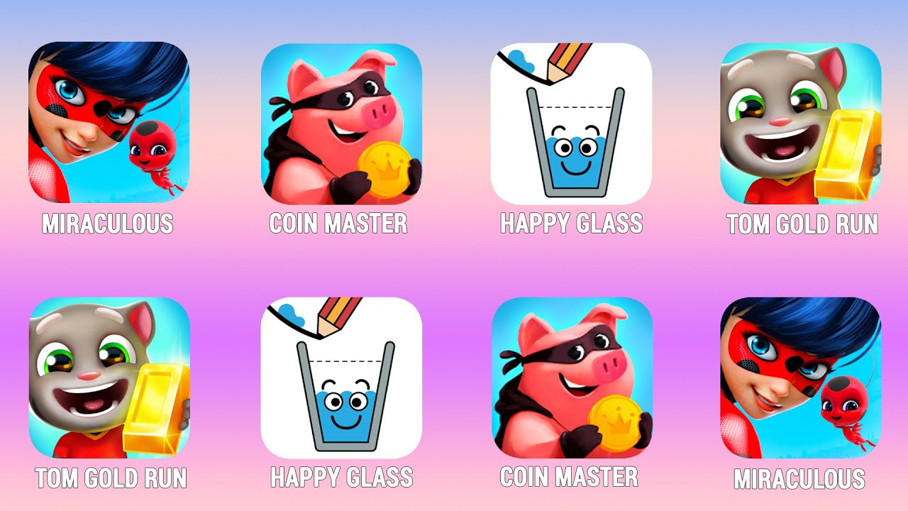 MIRACULOUS, Coin Master, Happy Glass, Tom Hero Dash, Walkthrough (iOs, Android) | Power of Gameplay