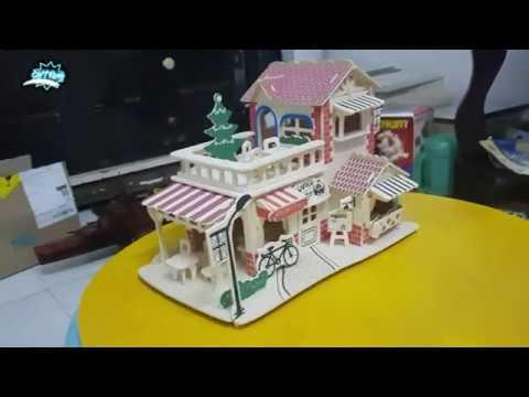 Lắp ráp mô hình quán cà phê bằng gỗ [ Romantic coffe House model ]Woodcraft Construction Kit 3D