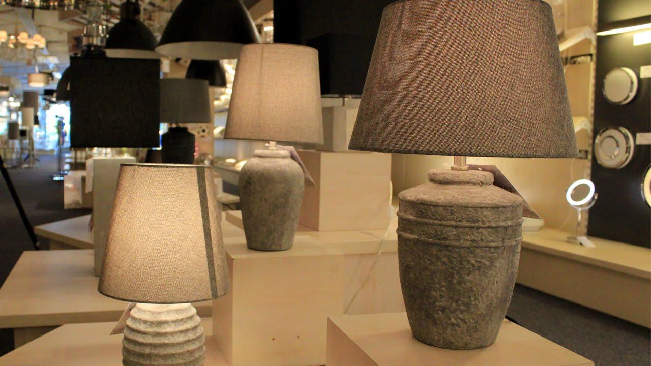 Landelijke tafellamp beton look met linnen kap straluma youtube - Grote tafellamp ...