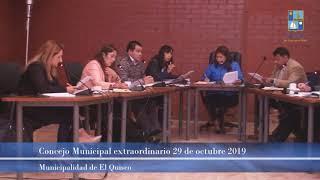 Concejo Municipal extraordinario, martes 29 de octubre 2019