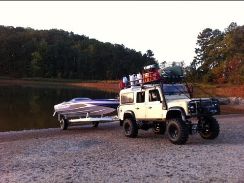 RC Boat Launch/Recovery. Land Rover Defender 110, Traxxas Spartan, Custom Trailer.